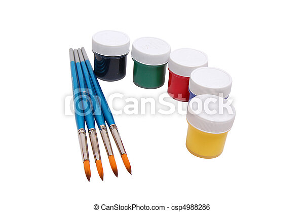 A group of colorful paint cans with paintbrush - csp4988286