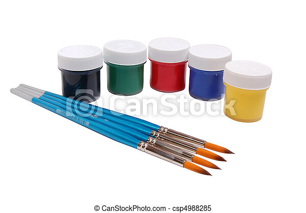 A group of colorful paint cans with paintbrush - csp4988285