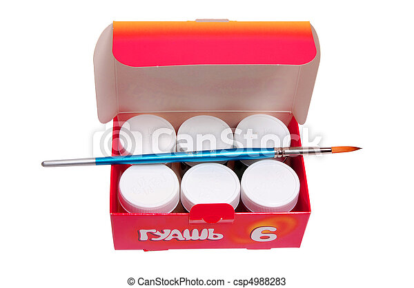A group of colorful paint cans with paintbrush - csp4988283