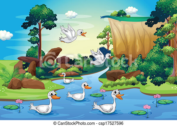 illustration of a group of ducks at the river in the forest eps rh canstockphoto ie ecosystem clipart free desert ecosystem clipart