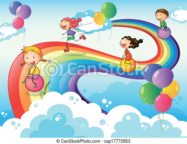 a group of kids playing at the sky with a rainbow illustration of a rh canstockphoto com