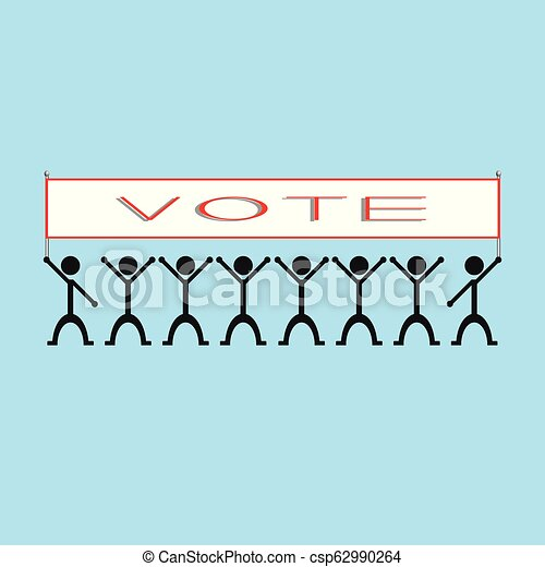 """A group of people holding a poster with the word """"vote"""". Vector illustration. - csp62990264"""