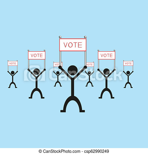 """A group of people holding a poster with the word """"vote"""". illustration. - csp62990249"""