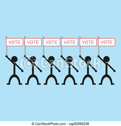 """A group of people holding a poster with the word """"vote"""". illustration. - csp62990238"""