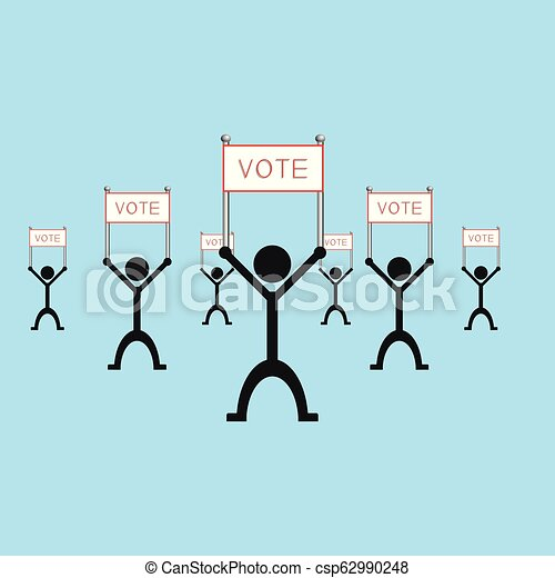 """A group of people holding a poster with the word """"vote"""". Vector illustration. - csp62990248"""