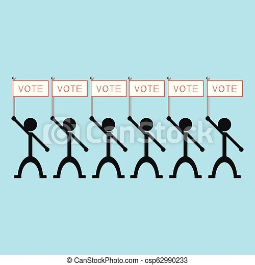 "A group of people holding a poster with the word ""vote"". Vector illustration. - csp62990233"
