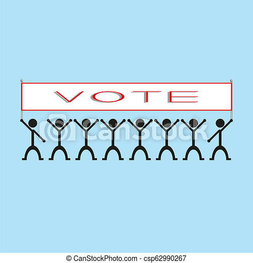 """A group of people holding a poster with the word """"vote"""". illustration. - csp62990267"""
