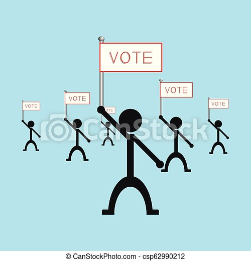 """A group of people holding a poster with the word """"vote"""". Vector illustration. - csp62990212"""