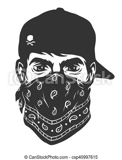 a guy in a baseball cap and bandana vector illustration vector rh canstockphoto com bandana vector art bandana vectoriel