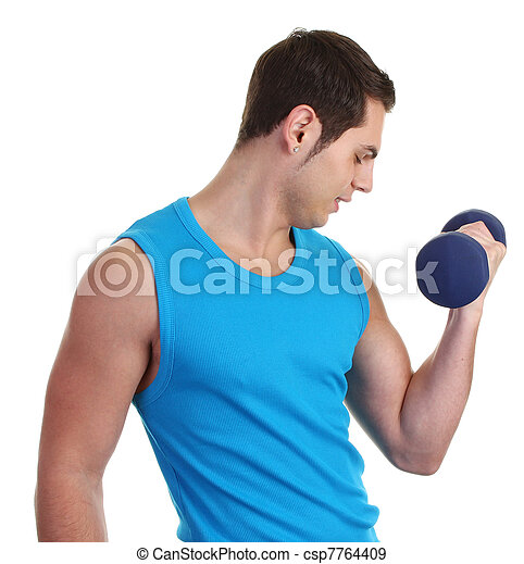 A guy with a dumbell - csp7764409