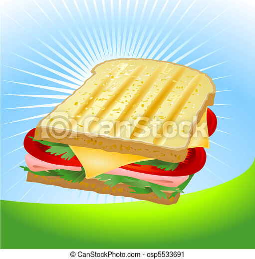 A ham and cheese sandwich.