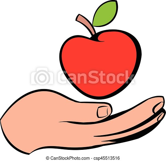 a hand giving a red apple icon icon cartoon a hand giving rh canstockphoto ie thanksgiving clipart clipart giving directions