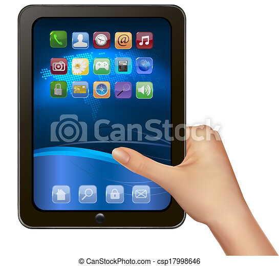 A hand holding digital tablet computer with icons. Vector illustration - csp17998646