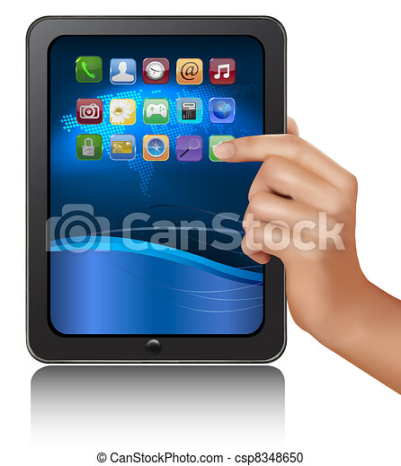 A hand holding digital tablet pc - csp8348650