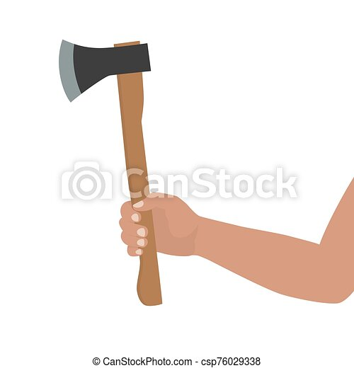 A hand to the elbow, without clothes, holds an ax. Hand holding hatchet. Isolated silhouette on a white background. Vector illustration - csp76029338
