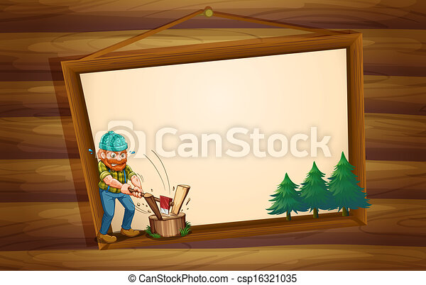 A hanging wooden signboard with a lumberjack chopping the woods - csp16321035