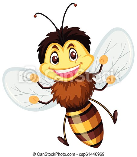 A happy bee on white background - csp61446969