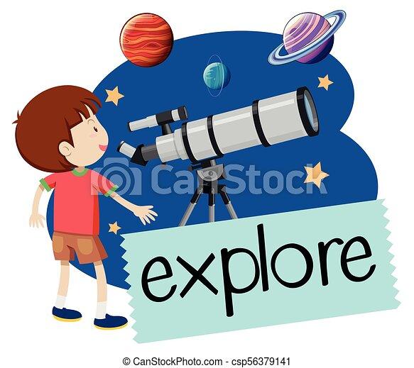 A Happy Boy with Telescope - csp56379141