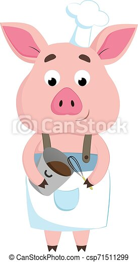A happy chef pig, vector or color illustration. - csp71511299