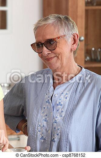 A happy elderly woman - csp8768152