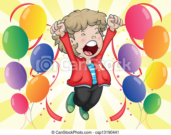 A happy face of a boy with balloons around him - csp13190441