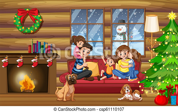 A happy family in the house on christmas illustration.