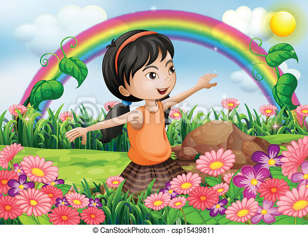 A Happy Girl At The Garden With Fresh Blooming Flowers Vector