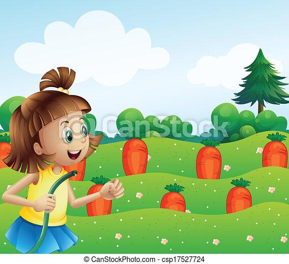 a happy girl watering the carrots in the farm Corn Clip Art Tomato Clip Art