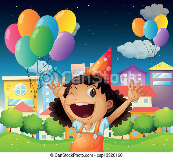 A Happy Little Girl Celebrating Her Birthday Illustration
