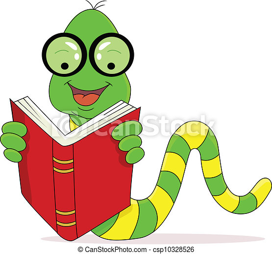 A happy worm reading book  - csp10328526