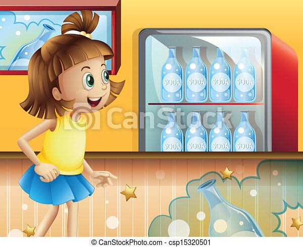 A happy young girl inside the store selling sodas - csp15320501