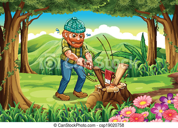 A hardworking lumberjack chopping woods at the forest - csp19020758