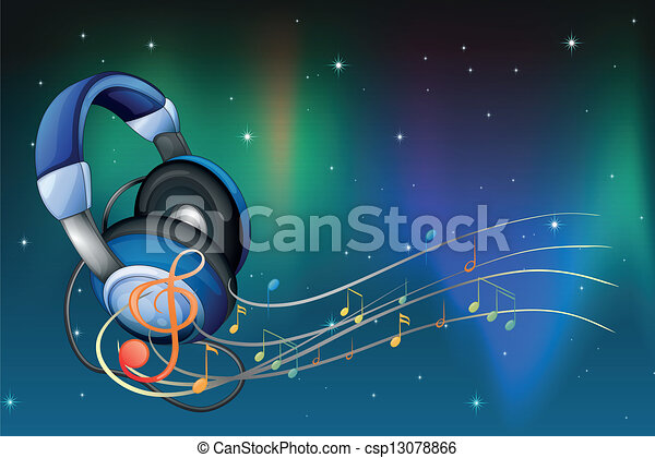 A headphone with musical notes - csp13078866