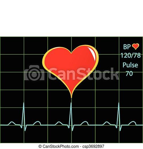 A healthy heart illustration with a cardiac trace  - csp3692897