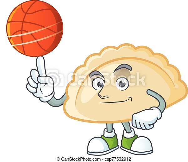 a Healthy pierogi cartoon character playing basketball - csp77532912