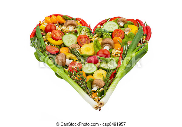 a heart made of vegetables. healthy eating - csp8491957