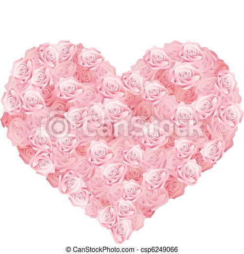 a heart of pink roses - csp6249066