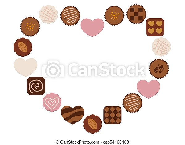 A heart-shaped chocolate frame. Various chocolates arranged as a ...