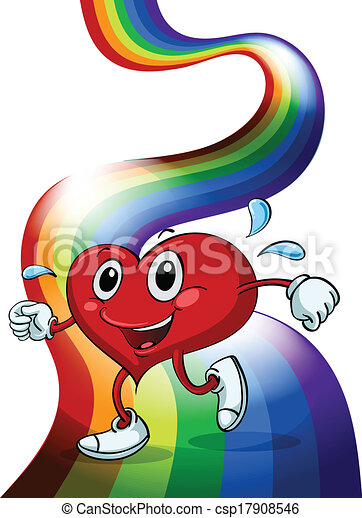 A heart walking above the rainbow - csp17908546