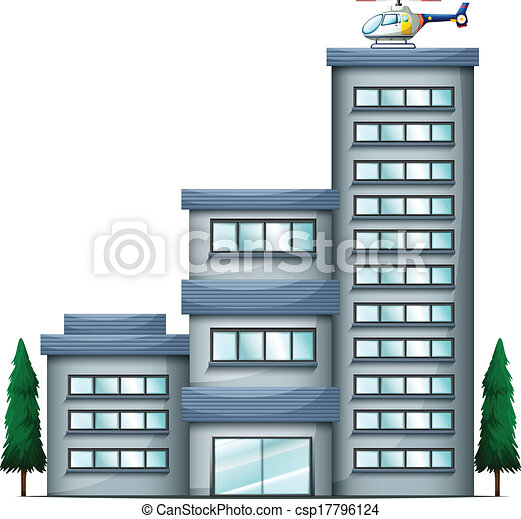 A helicopter above the tall building - csp17796124