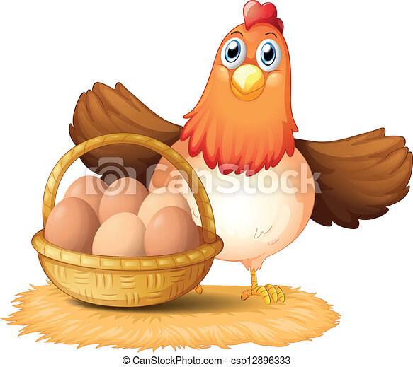 A hen and a basket of egg - csp12896333