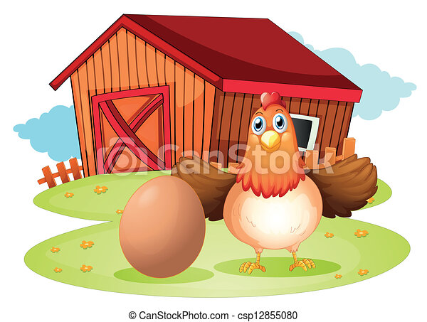 A hen and an egg at the backyard - csp12855080