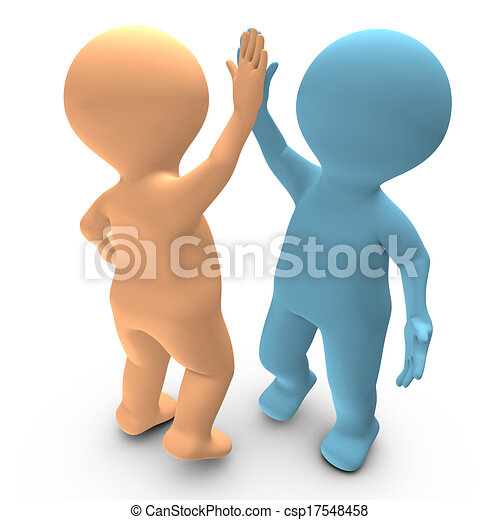 A high five between two persons that celebrate a success - csp17548458