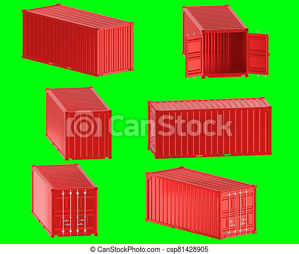 A high quality image of a red 20ft shipping container on a green background. - csp81428905
