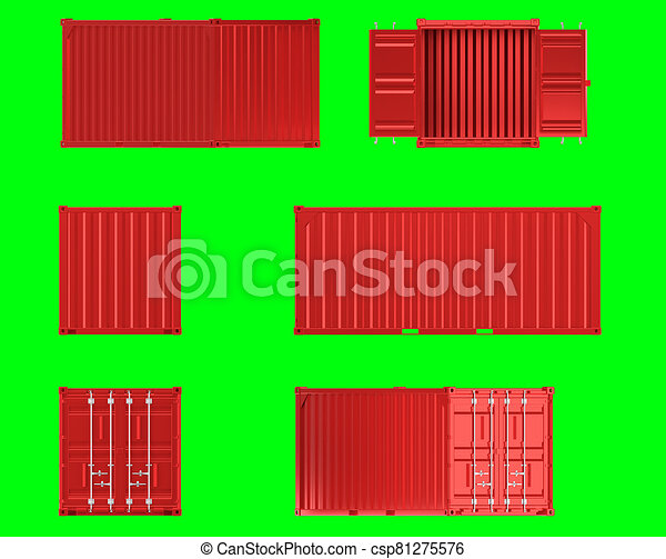 A high quality image of a red 20ft shipping container on a green background. - csp81275576