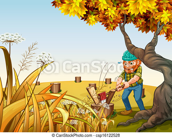 A hilltop with a woodman chopping woods - csp16122528