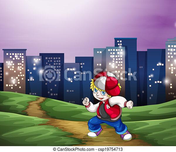 A hiphop dancer near the tall buildings - csp19754713