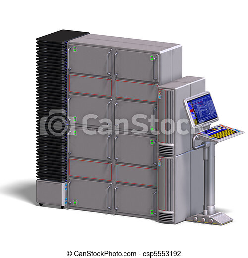 a historic science fiction computer or mainframe. 3D rendering and shadow over white - csp5553192