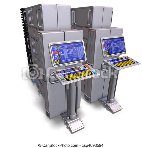 a historic science fiction computer or mainframe. 3D rendering and shadow over white - csp4093594