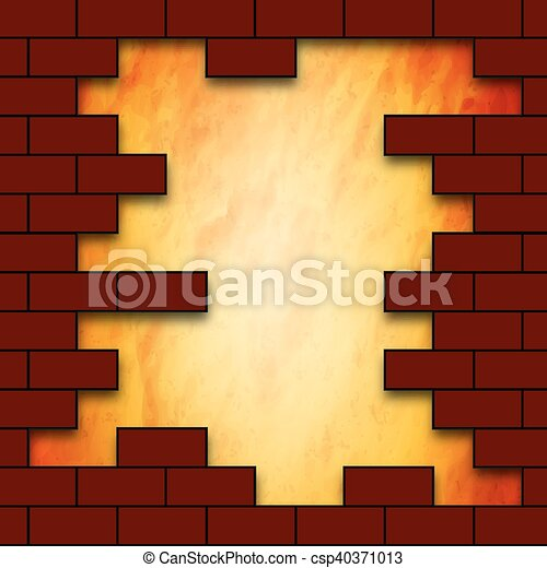 A hole in a brick wall. The hole in the brick wall, vector... vector ...